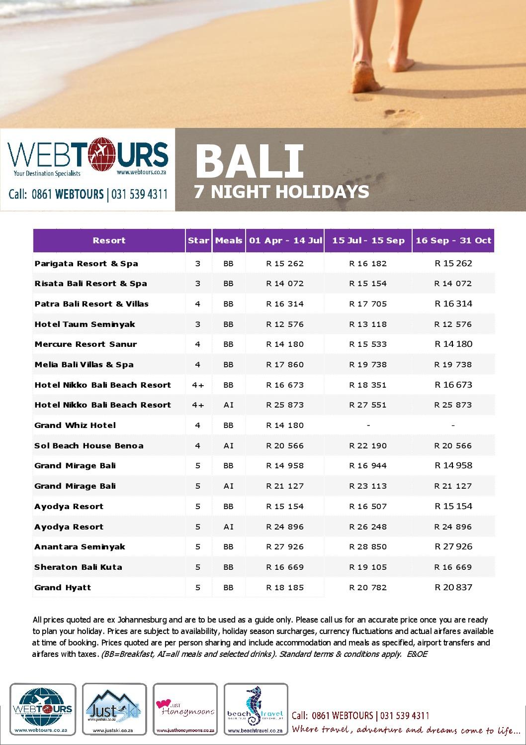 7 Nights Bali, Valid until 15 Sep '18