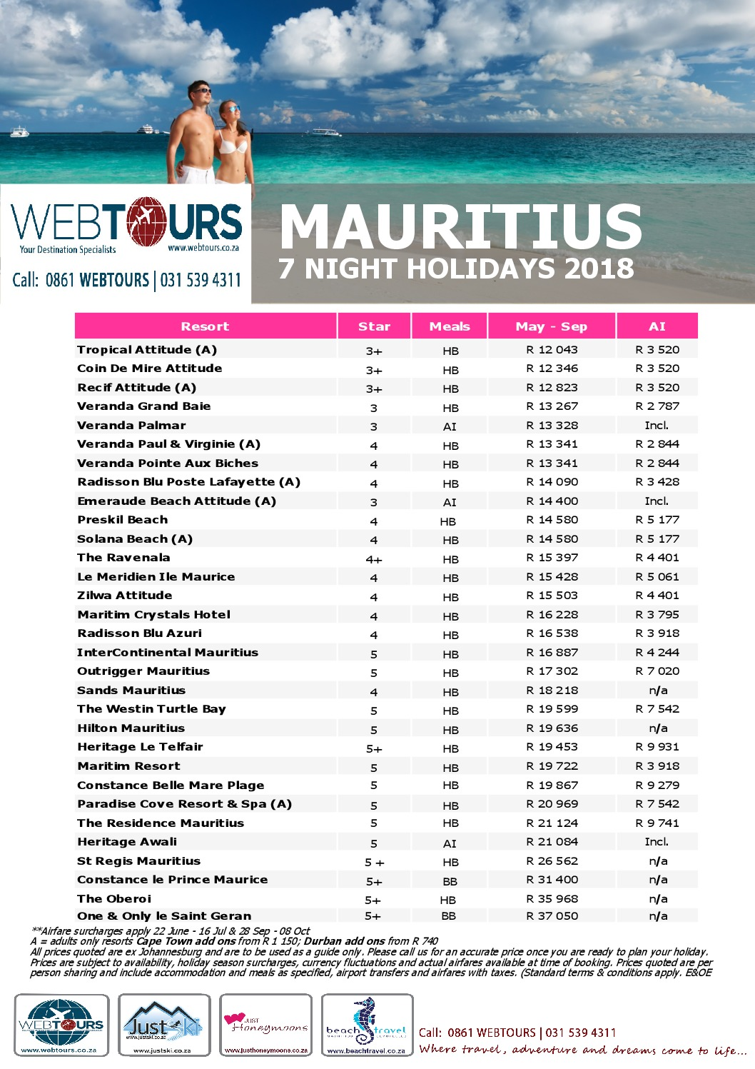 7 Nights Mauritius, Valid until Sep '18