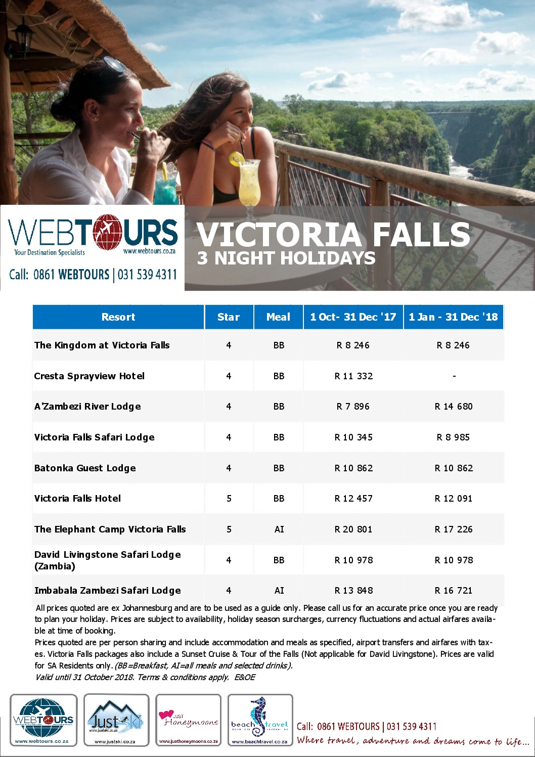 3 Nights Vic Falls, Valid until 31 Dec '18