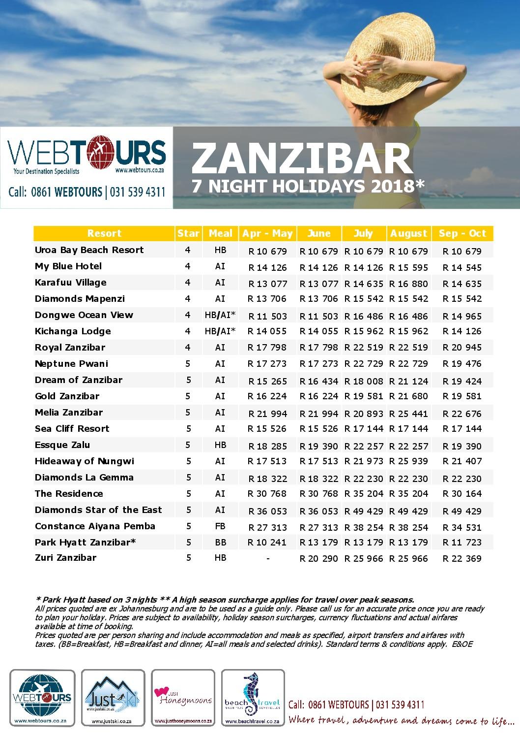 7 Nights Zanzibar, Valid until Oct '18
