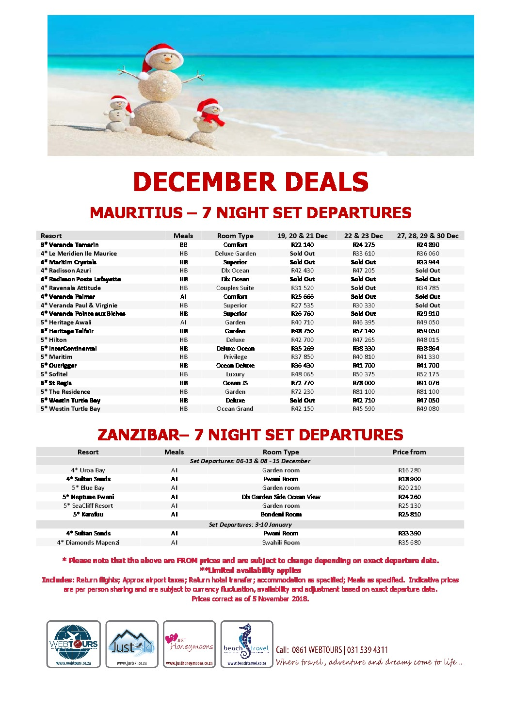 December Deals – Mauritius & Zanzibar – Set Departures