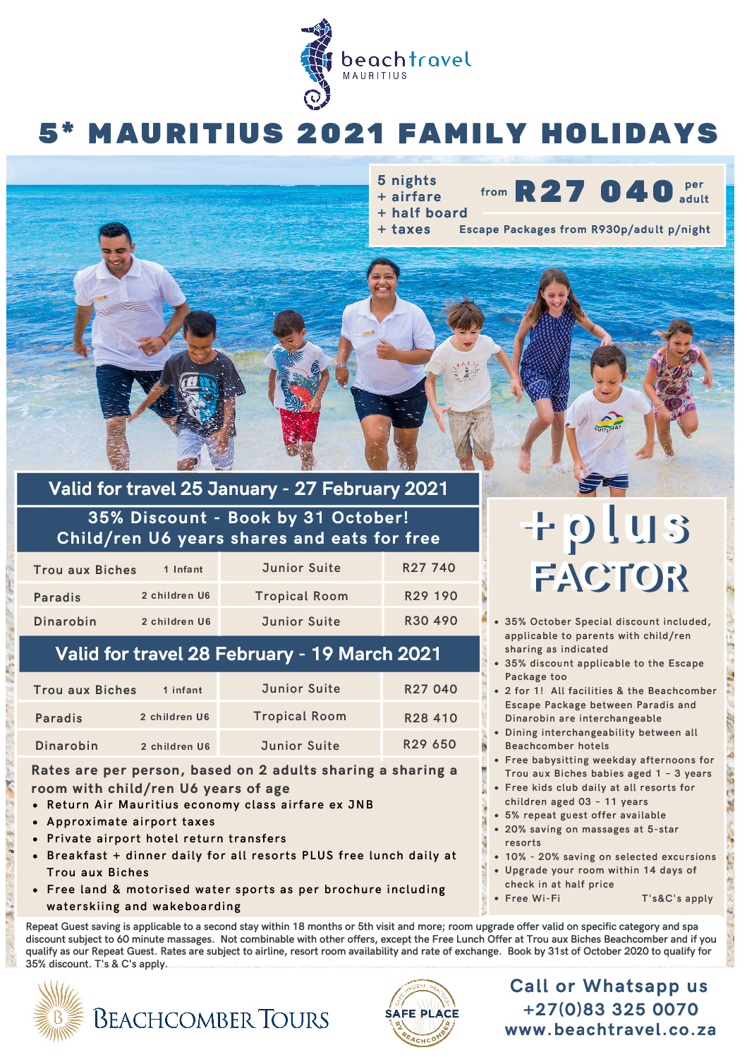 Beachcomber 5* Family Getaways 25 Jan – 27 Feb 2021
