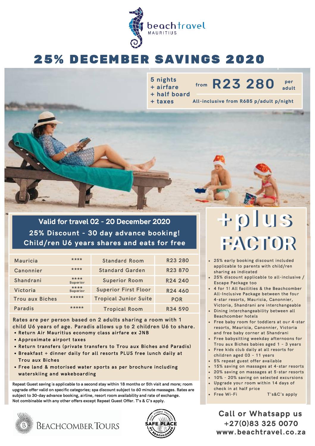Mauritius Family December Getaways 2020