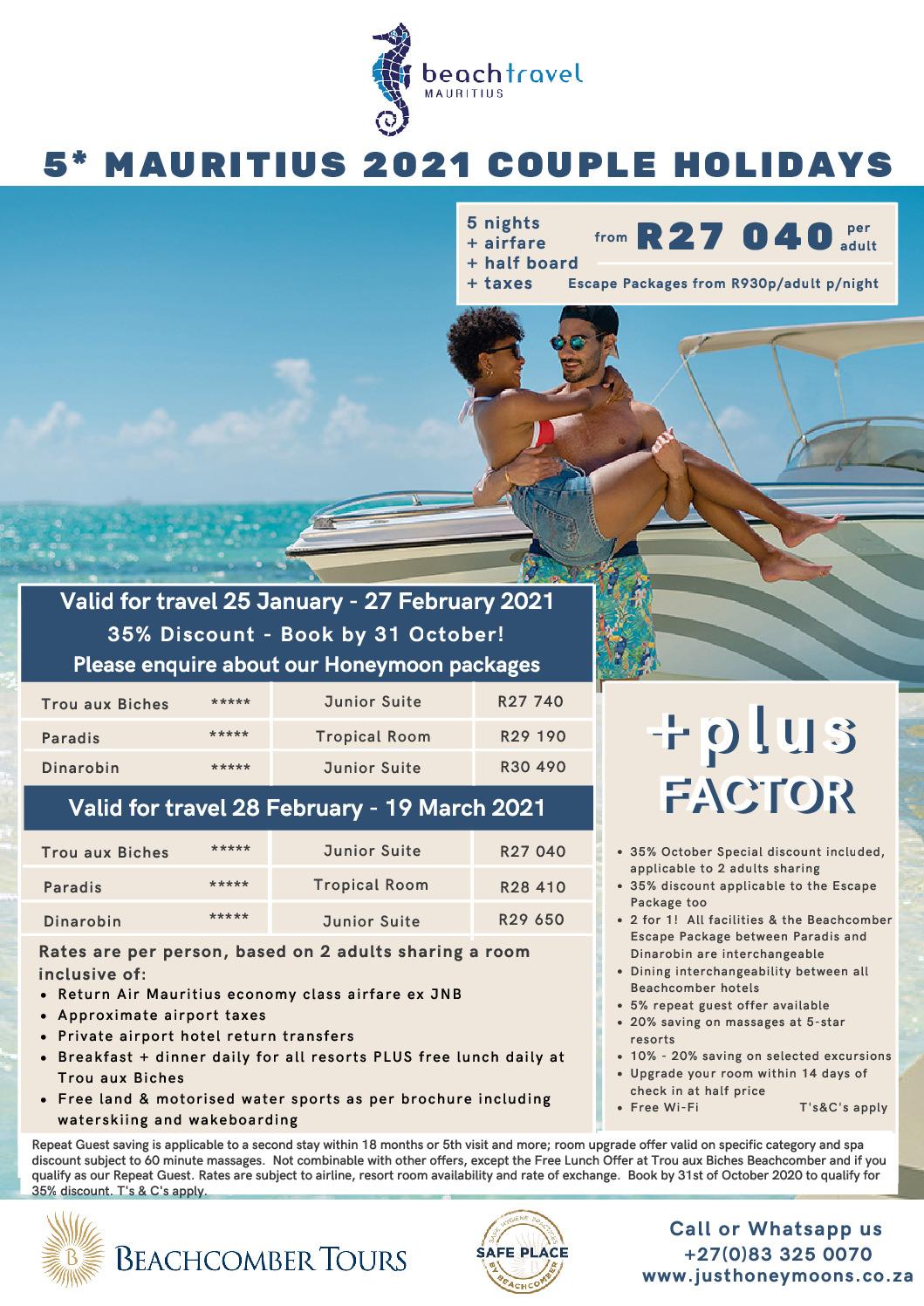 Beachcomber 5* Couples Escapes 25 Jan – 27 Feb 2021