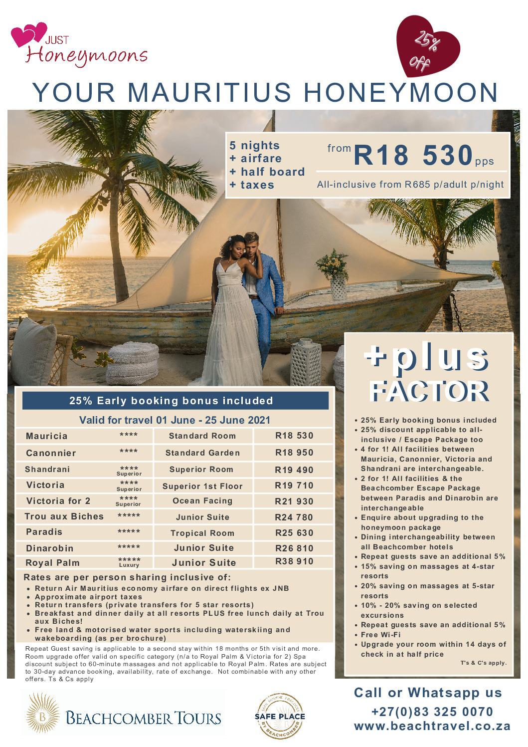 Mauritius Beachcomber Specials – June 2021